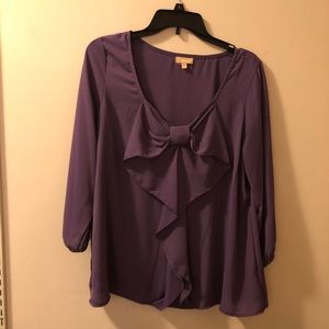 Purple blouse with flattering bow, 3/4 sleeve